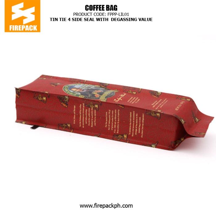 Tin Tie 4 Side Seal Coffee Bag Packaging Recyclable With Degassing Valve firepack cebu