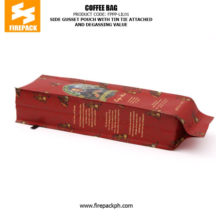 Tin Tie 4 Side Seal Coffee Bag Packaging Recyclable With Degassing Valve firepack