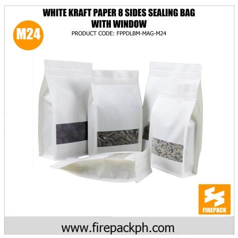 white kraft paper 8 sides sealing bag with window supplier m24