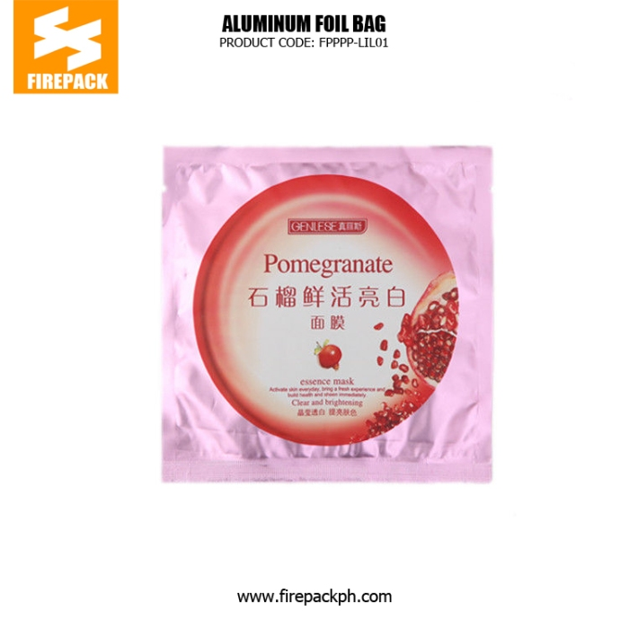 Wholasale Recyclable 3 Side Seal Bag Facial Mask Aluminum Foil Bags cebu supplier firepack