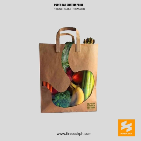 brown paper bag with unique design with window