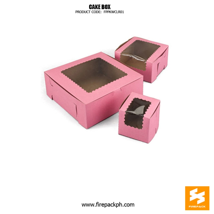 cake box pink color design with window supplier