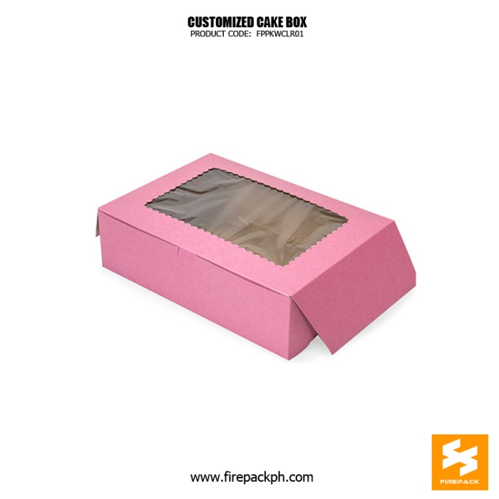cake box with window pink color design