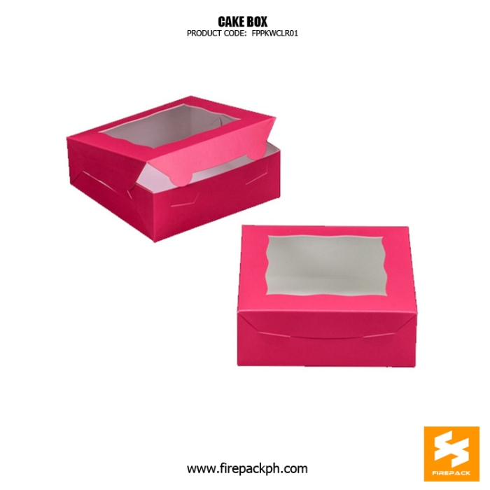 cake box with window with window pink color box manila