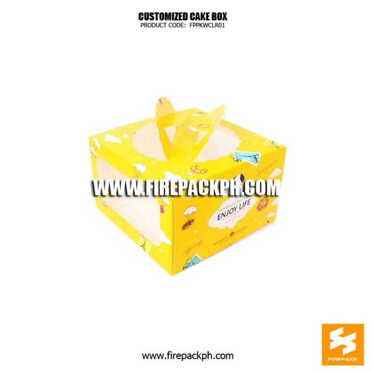 cake box yellow color design maker supplier manila