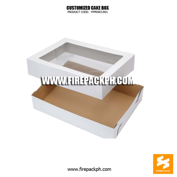 cardboard cake box with window white bacolod supplier