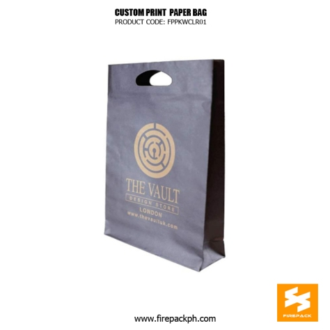 custom print paper bag matte print violet color