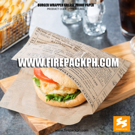 grease proof burger wrapper paper custom printing supplier manila