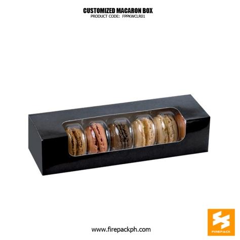 macaron box black color with window design maker