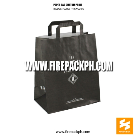 paper bag black color with handle custom print manila supplier