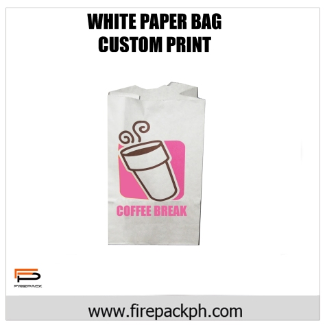 white paper bag custom printed