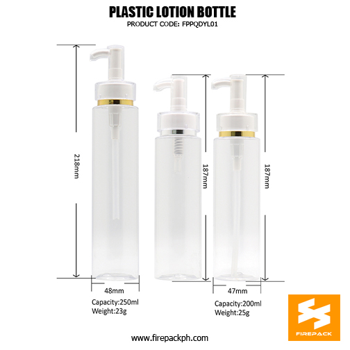250ml Cosmetic Packaging PET Plastic Pump 2 Bottles For Lotion sizes