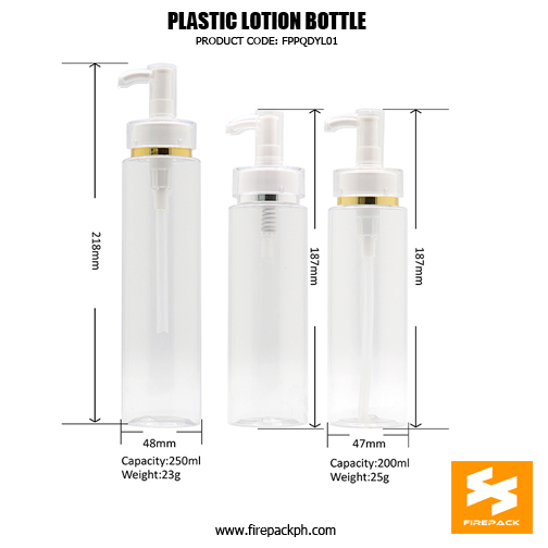 250ml Cosmetic Packaging PET Plastic Pump 2Bottles For Lotion sizes