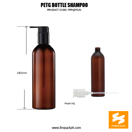 350ml PETG Plastic Empty Brown Shampoo Bottle size