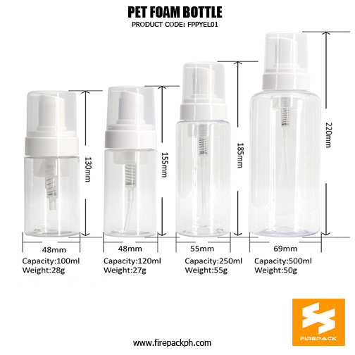 Cosmetic Packaging Empty PET Soap 2Dispenser Foam Bottle sizes
