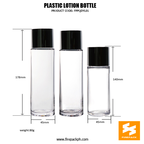 Custom Cylinder PET Plastic Bottle Cosmetic Package For Skin Toner sizes