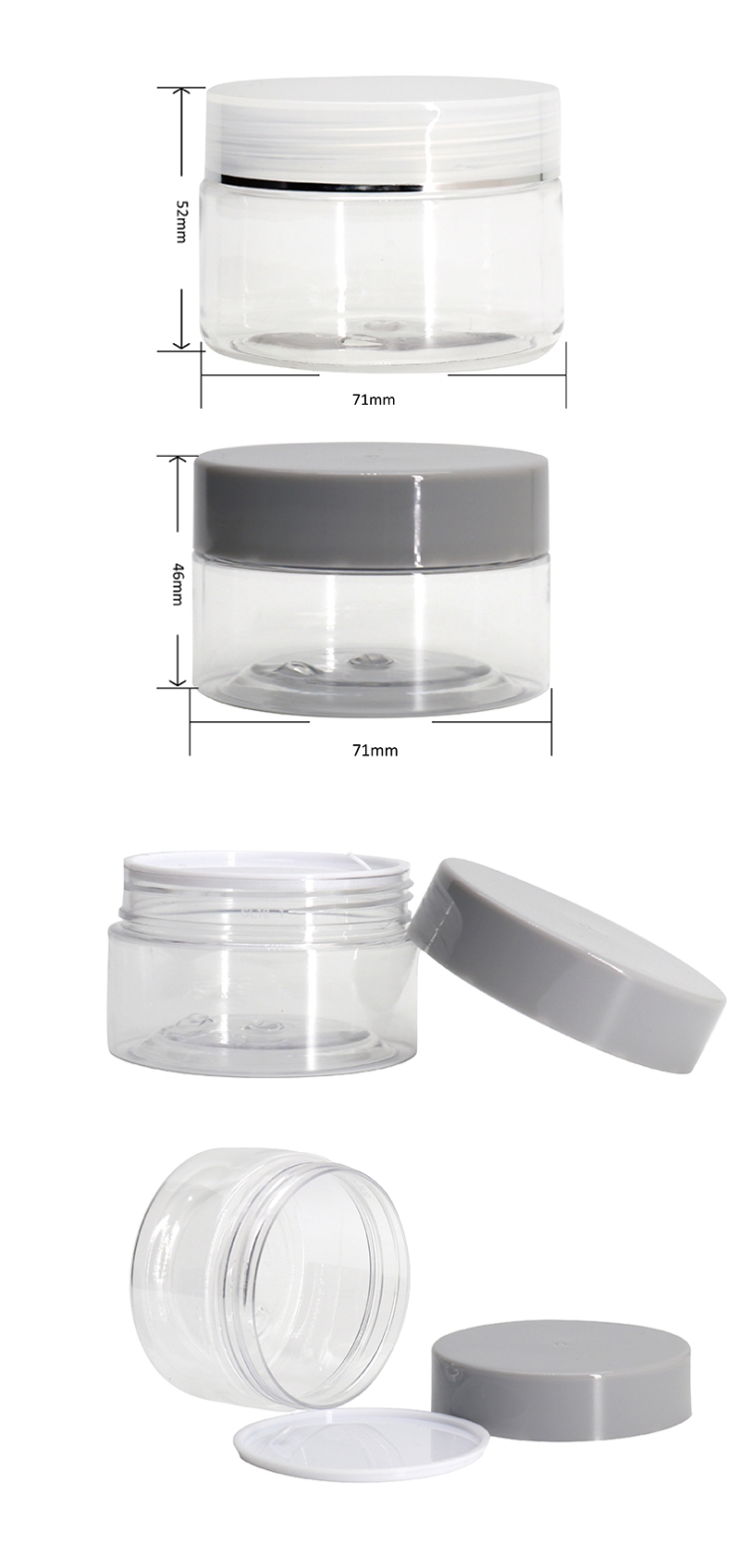Factory Price Empty Cosmetic Container Clear Plastic PET Jars sizes