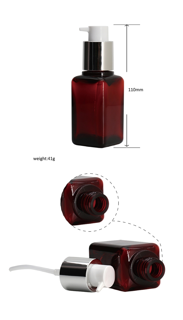 Factory Wholesale Square PET Serum Bottle With Pump 3